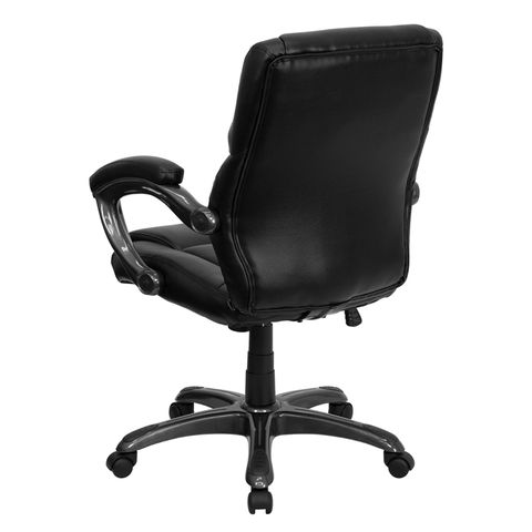 Mid-Back Black Leather Overstuffed Office Chair by Flash Furniture