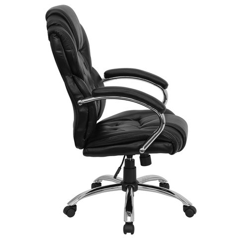 High Back Transitional Style Black Leather Executive Office Chair by Flash Furniture
