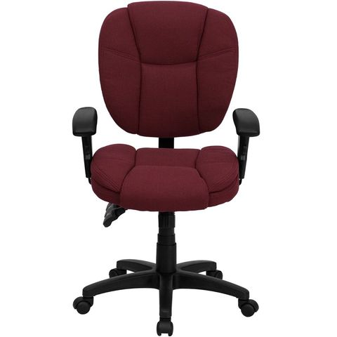 Mid-Back Burgundy Fabric Multi-Functional Ergonomic Task Chair with Arms by Flash Furniture