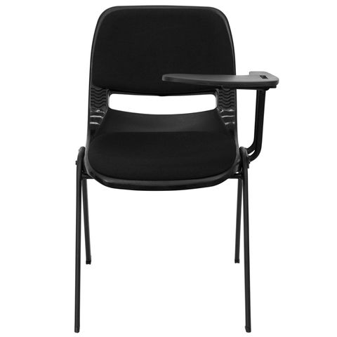 Padded Black Shell Chair with Left Handed Tablet Arm by Flash Furniture