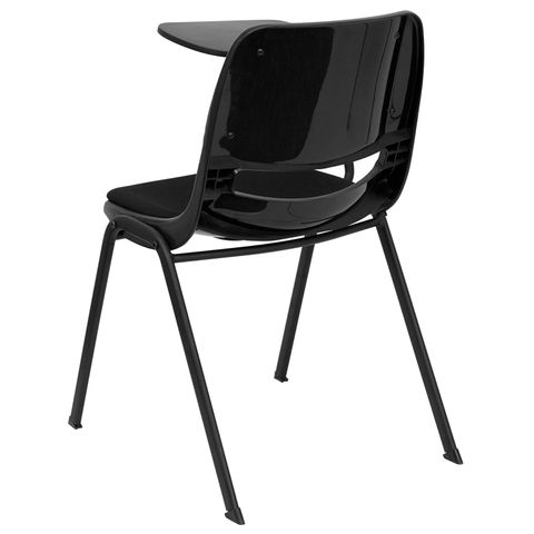 Padded Black Shell Chair with Right Handed Tablet Arm by Flash Furniture