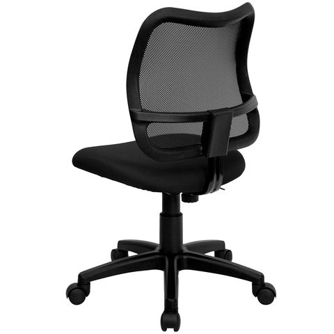 Mid-Back Mesh Task Chair with Black Fabric Seat by Flash Furniture