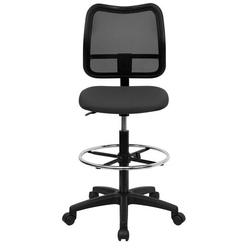 Mid-Back Mesh Drafting Stool with Gray Fabric Seat by Flash Furniture