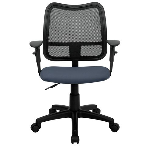 Mid-Back Mesh Task Chair with Navy Blue Fabric Seat and Arms by Flash Furniture