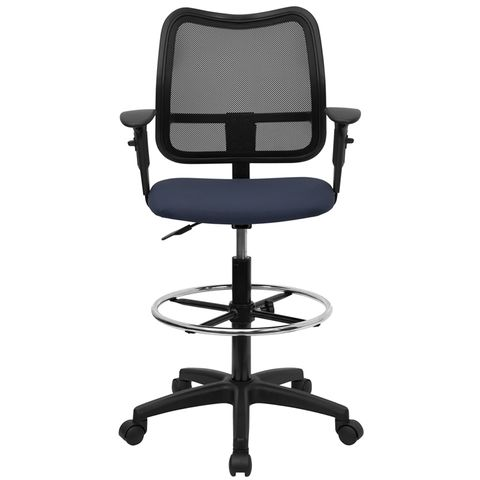Mid-Back Mesh Drafting Stool with Navy Blue Fabric Seat and Arms by Flash Furniture