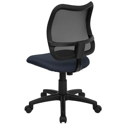 Mid-Back Mesh Task Chair with Navy Blue Fabric Seat by Flash Furniture
