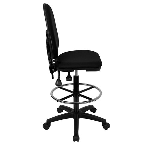Mid-Back Black Fabric Multi-Functional Drafting Stool with Adjustable Lumbar Support by Flash Furniture