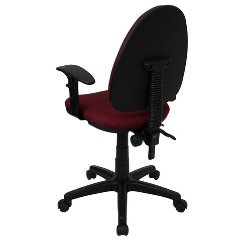 Mid-Back Burgundy Fabric Multi-Functional Task Chair with Arms and Adjustable Lumbar Support by Flash Furniture