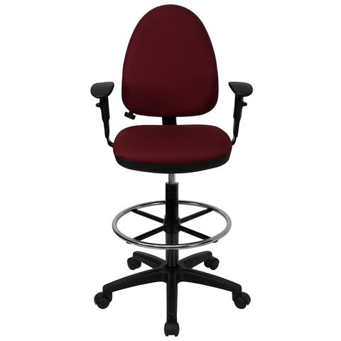 Mid-Back Burgundy Fabric Multi-Functional Drafting Stool with Arms and Adjustable Lumbar Support by Flash Furniture