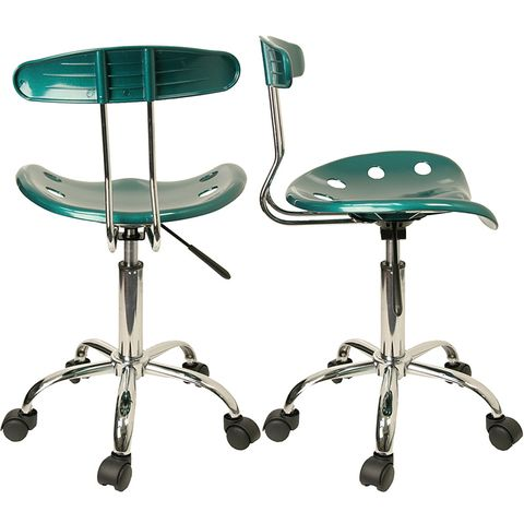Vibrant Green and Chrome Computer Task Chair with Tractor Seat by Flash Furniture