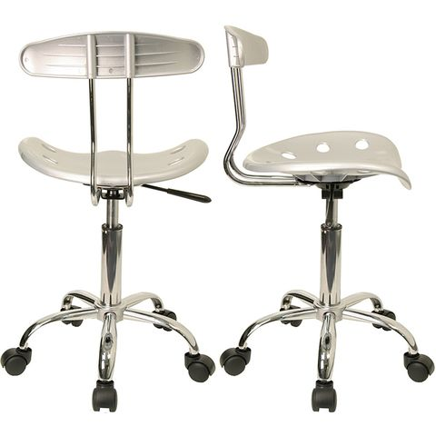 Vibrant Silver and Chrome Computer Task Chair with Tractor Seat by Flash Furniture