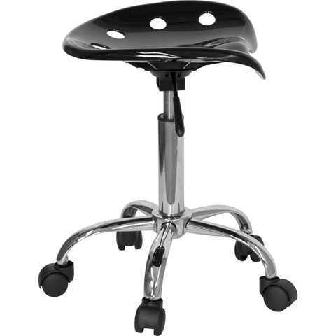Vibrant Black Tractor Seat and Chrome Stool by Flash Furniture