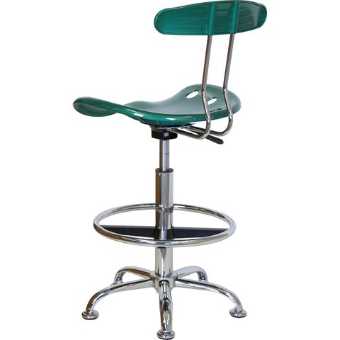 Vibrant Green and Chrome Drafting Stool with Tractor Seat by Flash Furniture