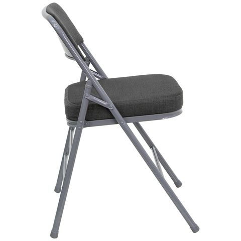 Triple Braced & Double Hinged Gray Fabric HERCULES™ Folding Chair - 2.5''Thick Seat by Flash Furniture