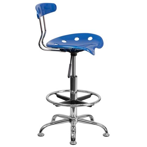 Vibrant Bright Blue and Chrome Drafting Stool with Tractor Seat by Flash Furniture