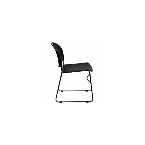 HERCULES™ Black High Density, Ultra Compact Stack Chair with Black Frame by Flash Furniture