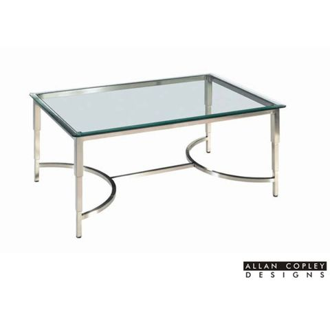 Sheila Rectangular Glass Top Cocktail Table with Brushed Stainless Steel Base by Allan Copley Designs