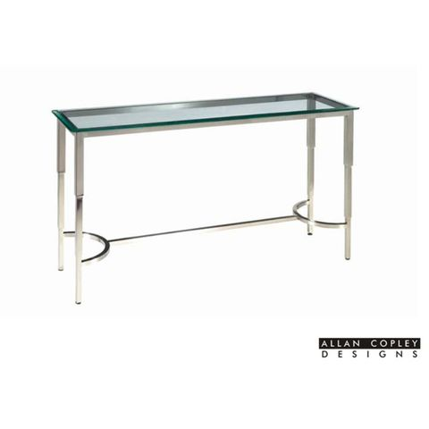 Sheila Rectangular Glass Top Console Table with Brushed Stainless Steel Base by Allan Copley Designs