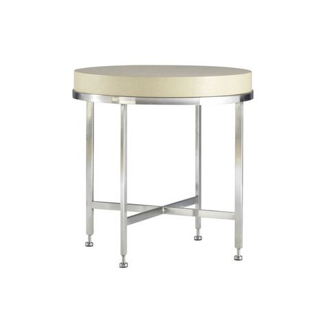 Galleria Round End Table with White on Ash Top on Brushed Stainless Steel Base by Allan Copley Designs
