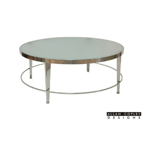 Sarah Round Cocktail Table with Frosted Glass Top on Polished Chrome Base by Allan Copley Designs