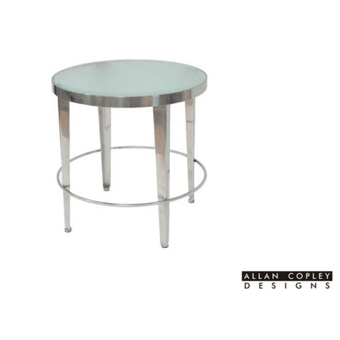 Sarah Round End Table with Frosted Glass Top on Polished Chrome Base by Allan Copley Designs
