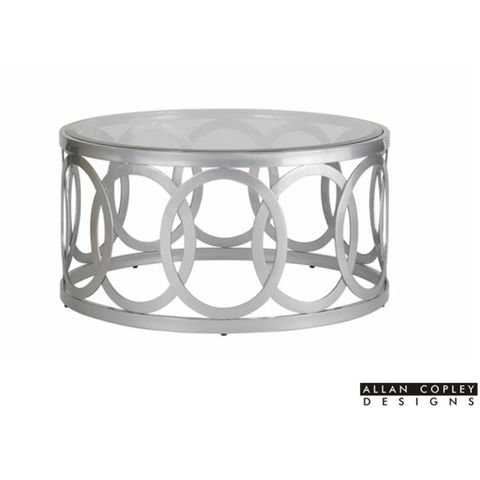 Alchemy Round Cocktail Table with Glass Top on Mirror Powder Coated Base by Allan Copley Designs
