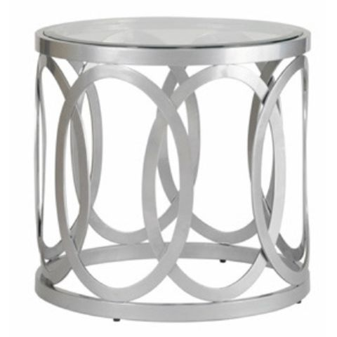 Alchemy Round End Table with Glass Top on Mirror Powder Coated Base by Allan Copley Designs
