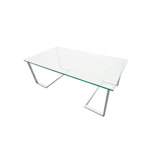 Edwin Rectangle Cocktail Table with Glass Top on Chrome Plated Base by Allan Copley Designs