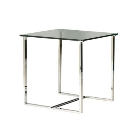 Edwin Square End Table with Glass Top on Chrome Plated Base by Allan Copley Designs