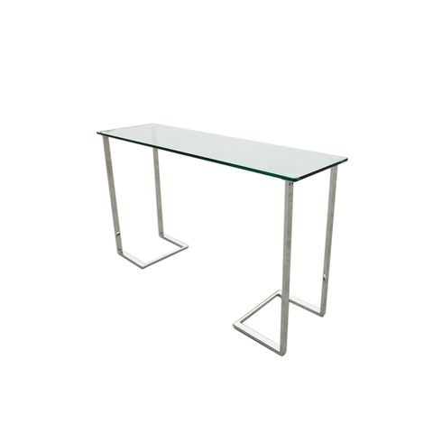 Edwin Rectangle Console Table with Glass Top on Chrome Plated Base by Allan Copley Designs