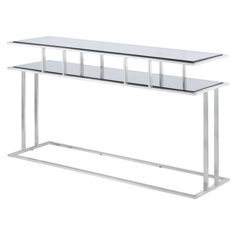 Mirage Rectangle Console Table with Smoked Grey Glass Top on Brushed Stainless Steel Base by Allan Copley Designs