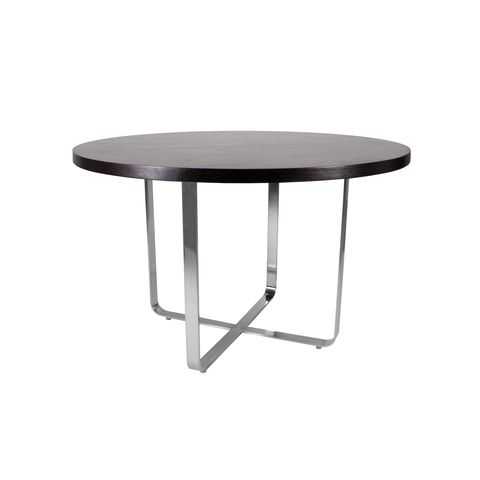 Artesia 48 Inch Round Dining Table with Mocca on Oak Top on Satin Nickel Base by Allan Copley Designs