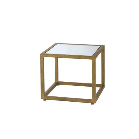 Grace Square Mirror Glass Top Nesting End Table with Gold Leaf Finish Frame by Allan Copley Designs