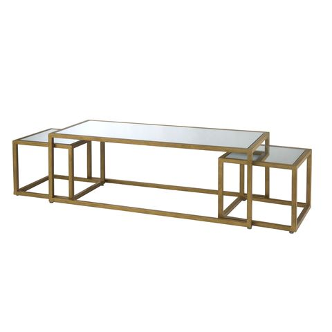 Grace Rectangle Cocktail & Two Nesting End Tables with Mirror Glass Top and Gold Leaf Finish Frame by Allan Copley Designs