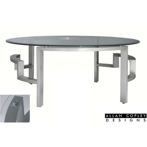 Stella Round Cocktail Table with Glass Top on Brushed Stainless Steel Base by Allan Copley Designs