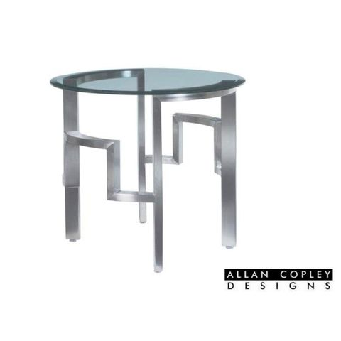 Stella Round End Table with Glass Top on Brushed Stainless Steel Base by Allan Copley Designs
