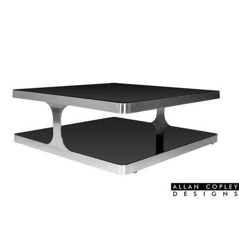 Diego Square Cocktail Table with Black Glass Top & Shelf and Brushed Stainless Steel Frame by Allan Copley Designs