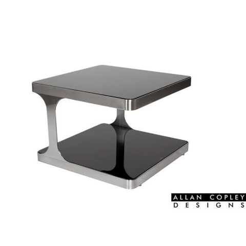 Diego Square End Table with Black Glass Top & Shelf and Brushed Stainless Steel Frame by Allan Copley Designs