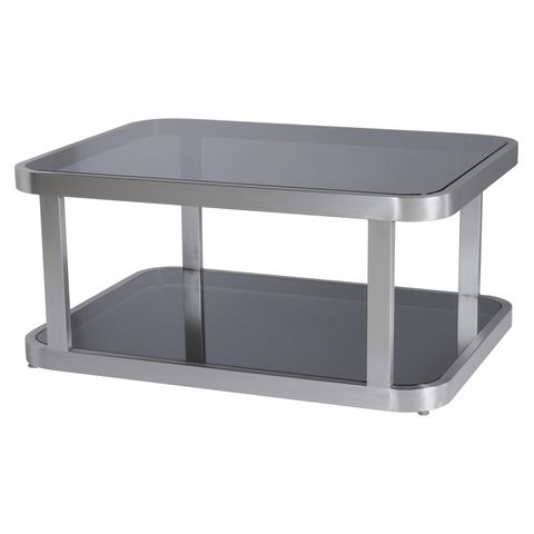 James Rectangular Cocktail Table with Smoked Grey Glass Top & Shelf and Brushed Stainless Steel Frame by Allan Copley Designs