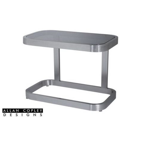 James Square End Table with Smoked Grey Glass Top and Brushed Stainless Steel Frame by Allan Copley Designs