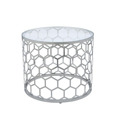 Melissa Round End Table with Glass Top and Stainless Steel Base by Allan Copley Designs