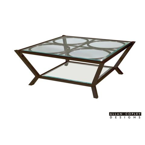 Veranda Square Glass Top Cocktail Table with Glass Shelf by Allan Copley Designs