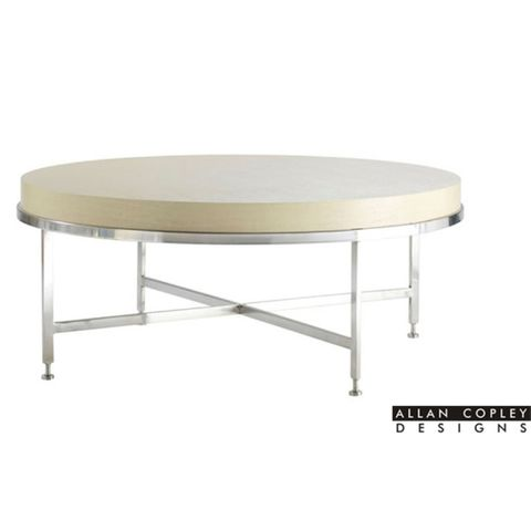 Galleria Round Cocktail Table with White on Ash Top on Brushed Stainless Steel Base by Allan Copley Designs