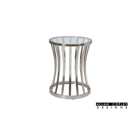 Alex Round End Table with Glass Top on Satin Nickel Plated Base by Allan Copley Designs