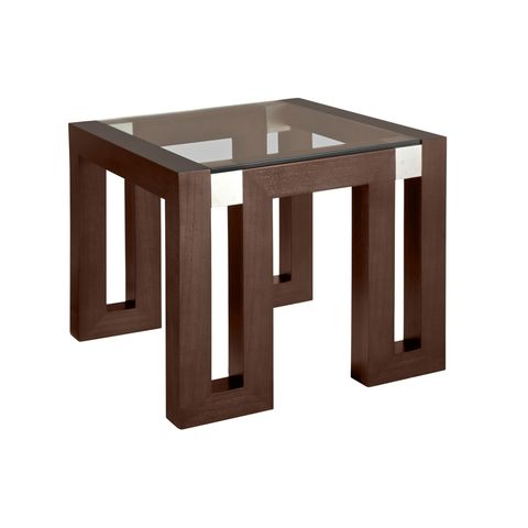 Calligraphy Square Glass Top End Table in Espresso Finish with Brushed Stainless Steel Accents by Allan Copley Designs