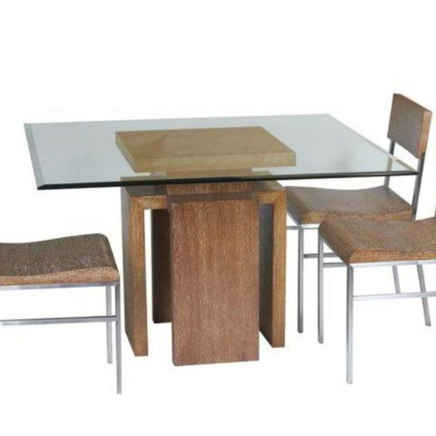 """Sebring 48"""" Square Glass Top Dining Table with White Limed Cognac on Oak Finished Base by Allan Copley Designs"""
