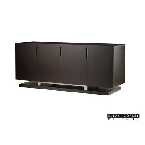 Sebring 4-Door, 4-Drawer Buffet in Mocha on Oak Finish with Brushed Stainless Steel Accents by Allan Copley Designs