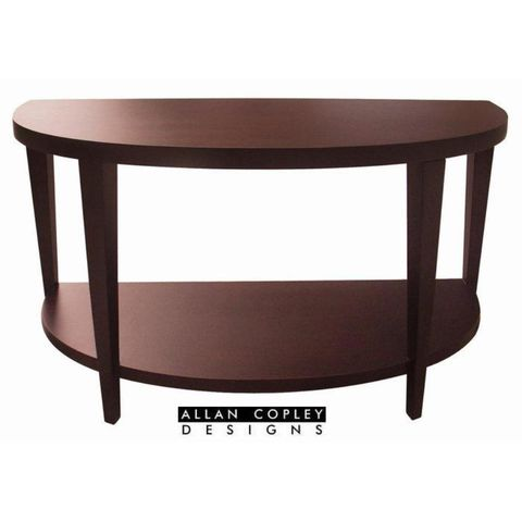 Marla Half Moon Console Table with Shelf in Espresso on Birch Finish by Allan Copley Designs
