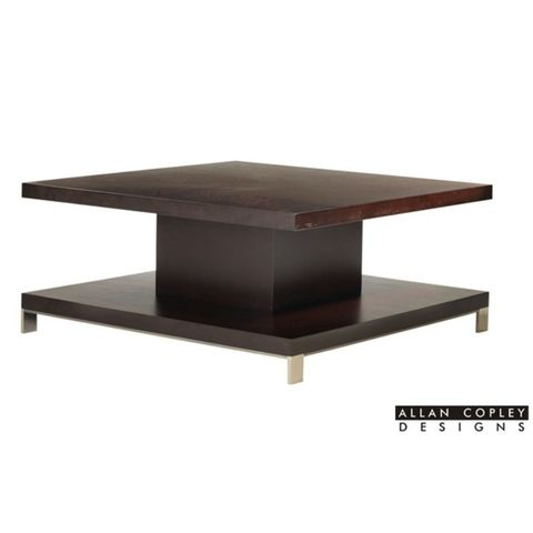 Force Square Cocktail Table in Mocha on Oak Finish with Brushed Stainless Steel Accents by Allan Copley Designs