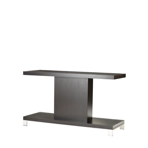 Force Rectangle Console Table in Mocha on Oak Finish with Brushed Stainless Steel Accents by Allan Copley Designs